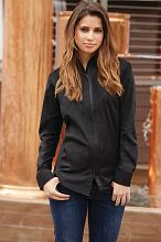 Shelby Womens Zip Front Shirt [SLWFZ003BLK]